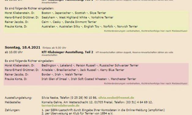 KfT Klubsieger-Ausstellung 2021 – ABGESAGT